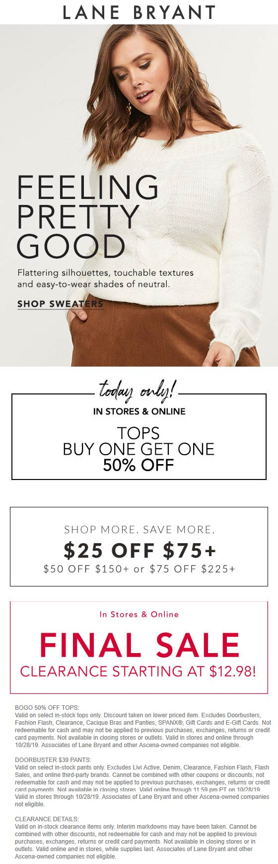 Lane Bryant Coupon November 2019 Second top 50% off today at Lane Bryant, ditto online