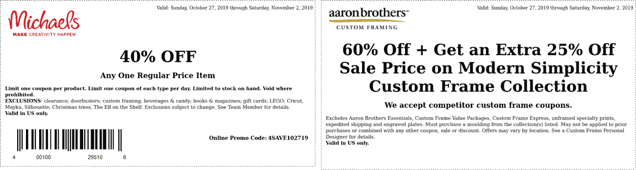 Michaels Coupon November 2019 40% off a single item at Michaels, or online via promo code 4SAVE102719