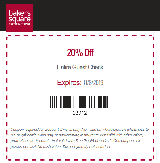 Bakers Square Coupon November 2019 20% off at Bakers Square restaurants