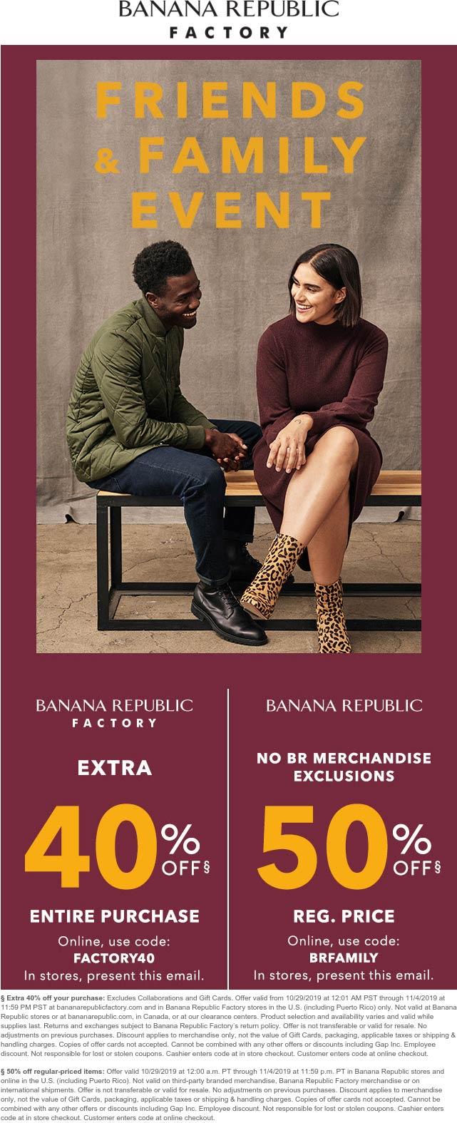 Banana Republic Coupon January 2020 Extra 50% off at Banana Republic & 40% at factory locations, 50% online via promo BRFAMILY