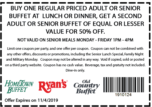 Hometown Buffet Coupon January 2020 Second lunch 50% off weekdays at Ryans, HomeTown Buffet & Old Country Buffet
