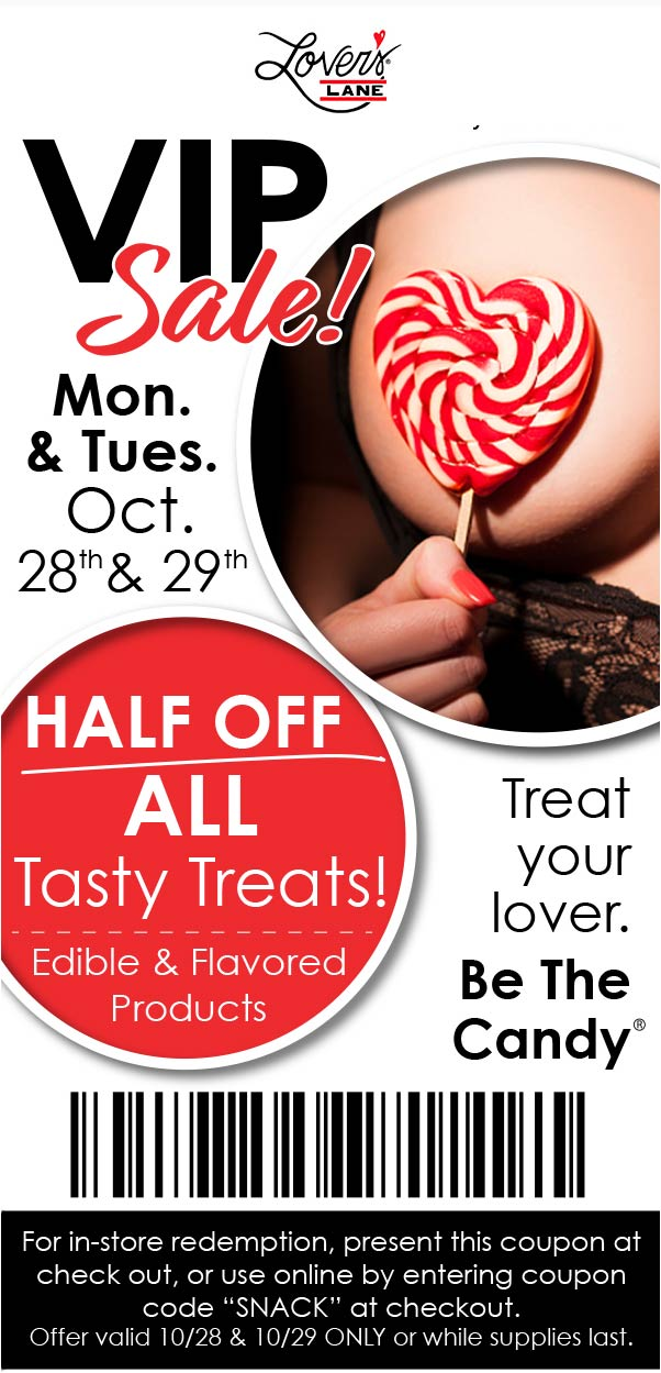 Lovers Lane Coupon January 2020 50% off tasty treats today at Lovers Lane, or online via promo code SNACK