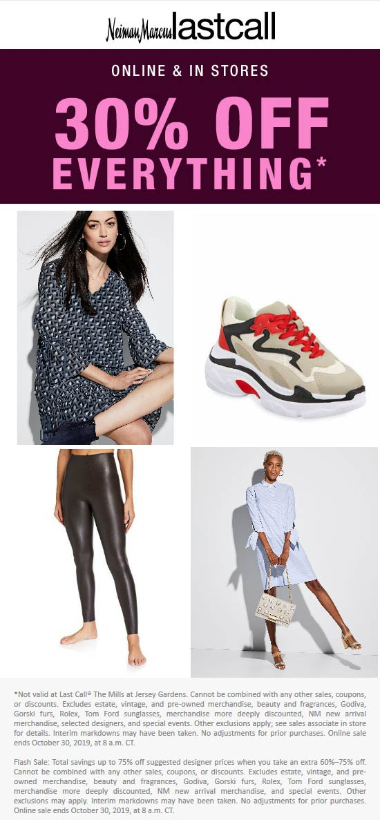 Last Call Coupon November 2019 30% off everything today at Neiman Marcus Last Call, ditto online