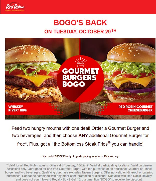 Red Robin Coupon January 2020 Second cheeseburger free today at Red Robin restaurants