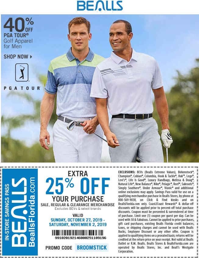 Bealls Coupon January 2020 25% off at Bealls, or online via promo code BROOMSTICK