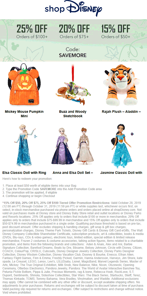 Disney Store Coupon January 2020 15-25% off $50+ online at Disney store via promo code SAVEMORE