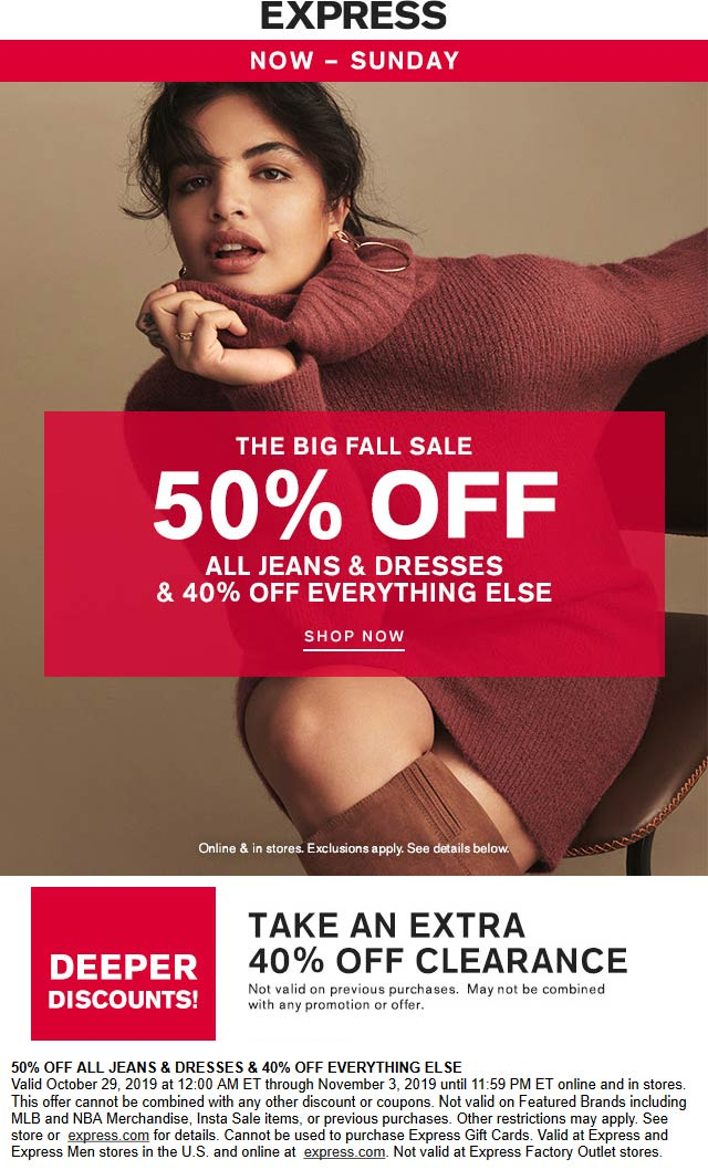Express Coupon January 2020 40% off everything & more at Express, ditto online