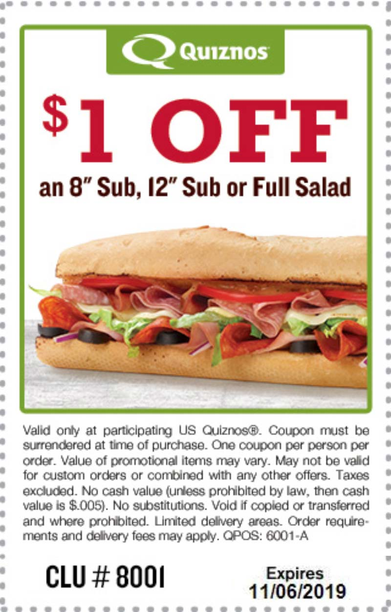 Quiznos Coupon November 2019 $1 off your sub sandwich at Quiznos