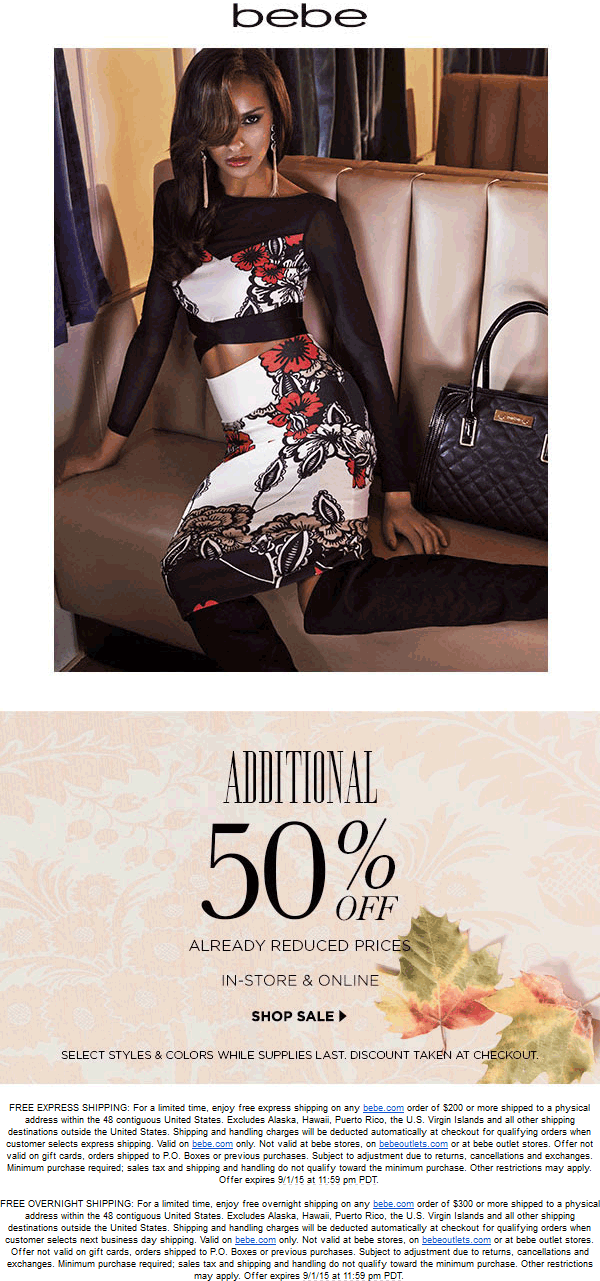 Bebe Coupon January 2019 Extra 50% off clearance at bebe, ditto online