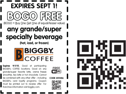 Biggby Coffee Coupon May 2017 Second drink free today at Biggby Coffee