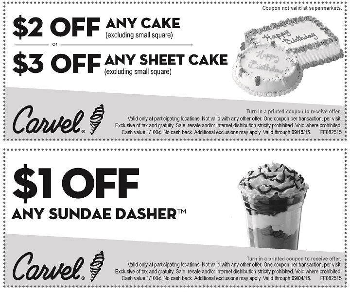 Carvel Coupon November 2017 $1 buck off an ice cream sundae at Carvel