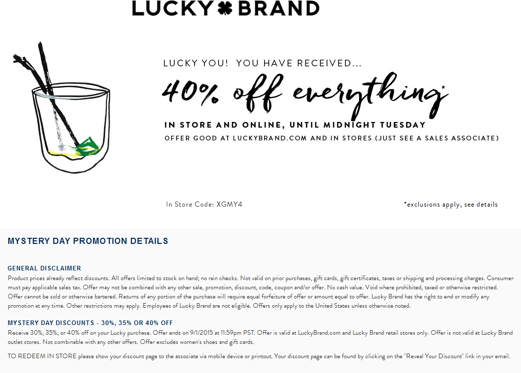 Lucky Brand Coupon October 2016 40% off everything today at Lucky Brand, ditto online