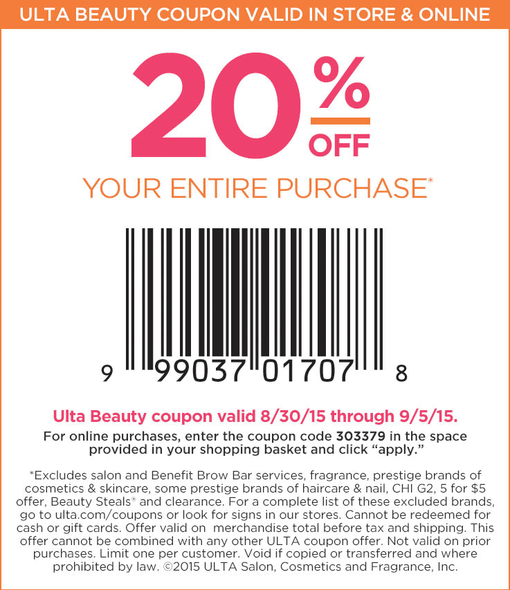 Ulta Coupon January 2019 20% off everything at Ulta, or online via promo code 303379