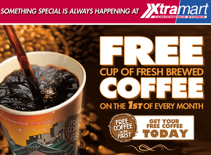 Xtramart.com Promo Coupon Free coffee today at Xtramart gas stations