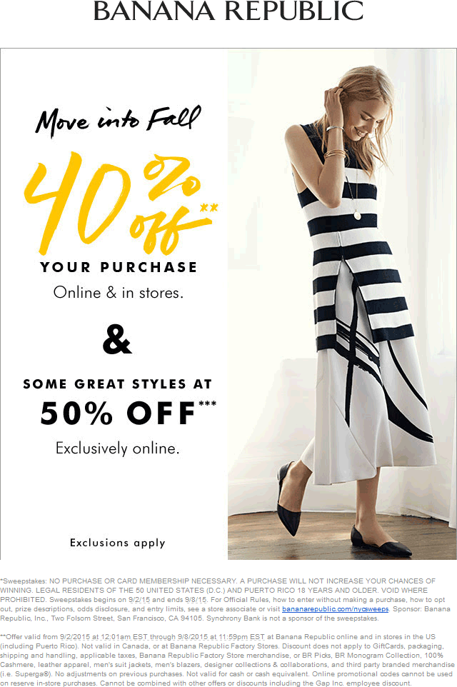 Banana Republic Coupon April 2017 40% off at Banana Republic, or online via promo code BRFALL
