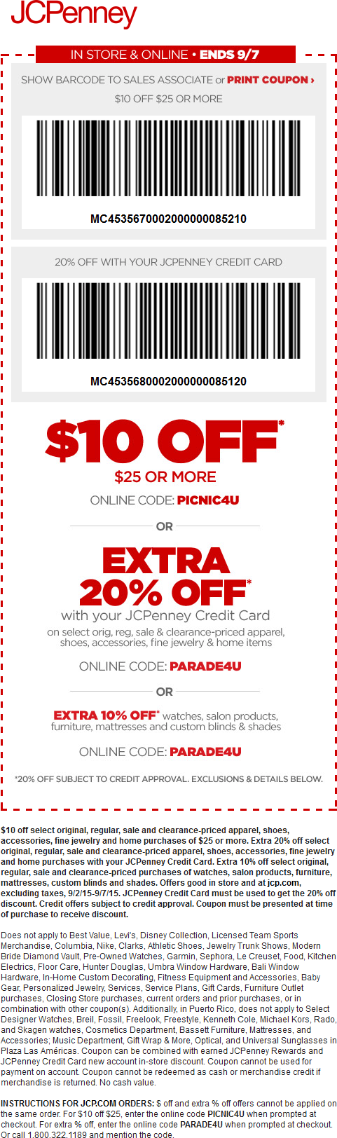 JCPenney Coupon November 2017 $10 off $25 at JCPenney, or online via promo code PICNIC4U