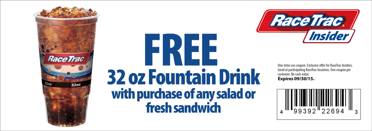 RaceTrac Coupon November 2017 Free drink with your sandwich or salad at RaceTrac gas stations