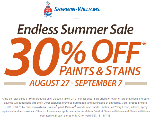 Sherwin Williams Coupon April 2017 30% off paint & stains at Sherwin-Williams