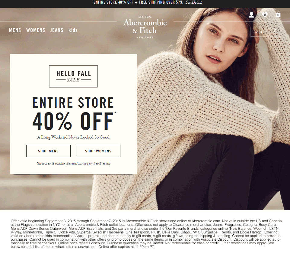 Abercrombie & Fitch Coupon October 2016 Everything is 40% off at Abercrombie & Fitch, ditto online