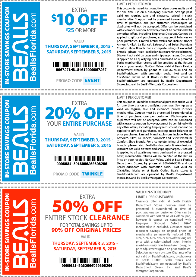 Bealls Coupon July 2018 Extra 50% off clearance, $10 off $25 & more at Bealls, or online via promo code EVENT