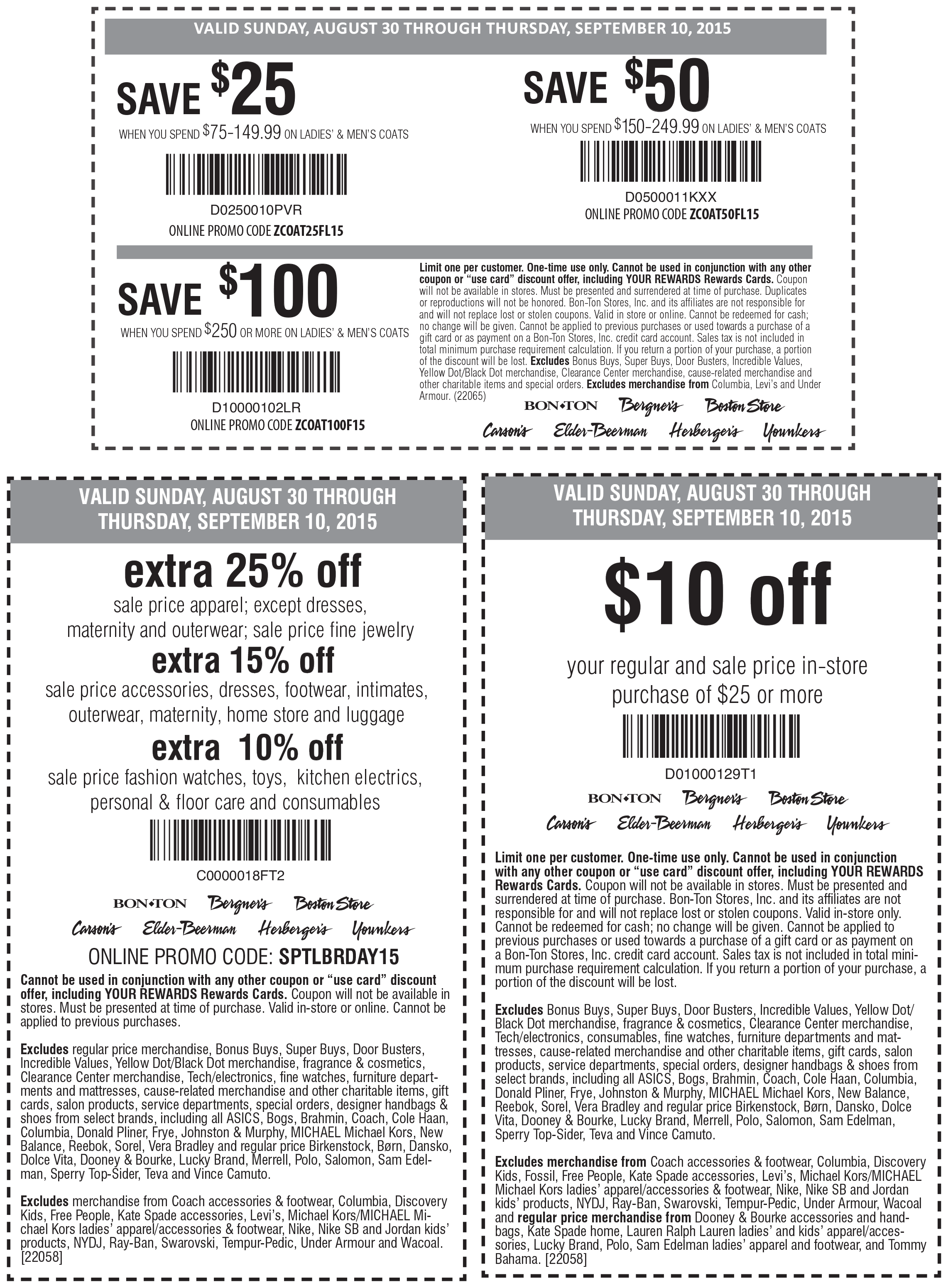 Carsons Coupon September 2017 $10 off $25 & more at Carsons, Bon Ton & sister stores, or 25% off sale online via promo code SPTLBRDAY15