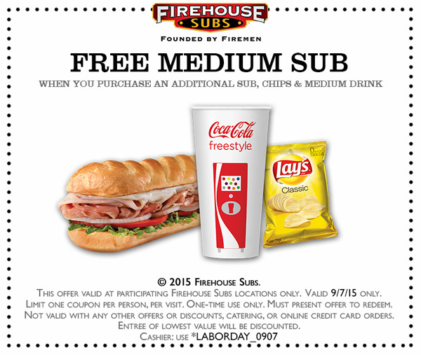 Firehouse Subs Coupon July 2017 Second sub free Monday at Firehouse Subs