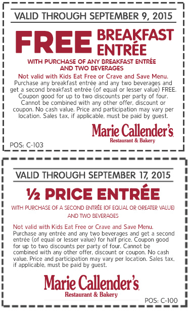 Marie Callenders Coupon November 2017 Second breakfast free & 50% off second entree at Marie Callenders