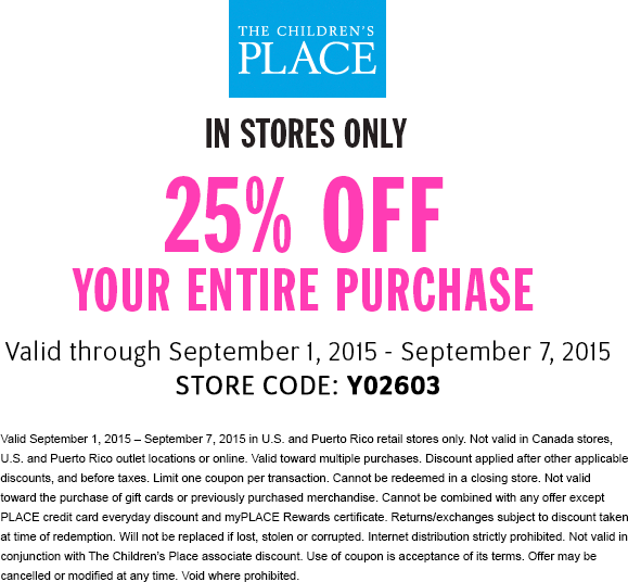The Childrens Place Coupon October 2019 25% off everything at The Childrens Place