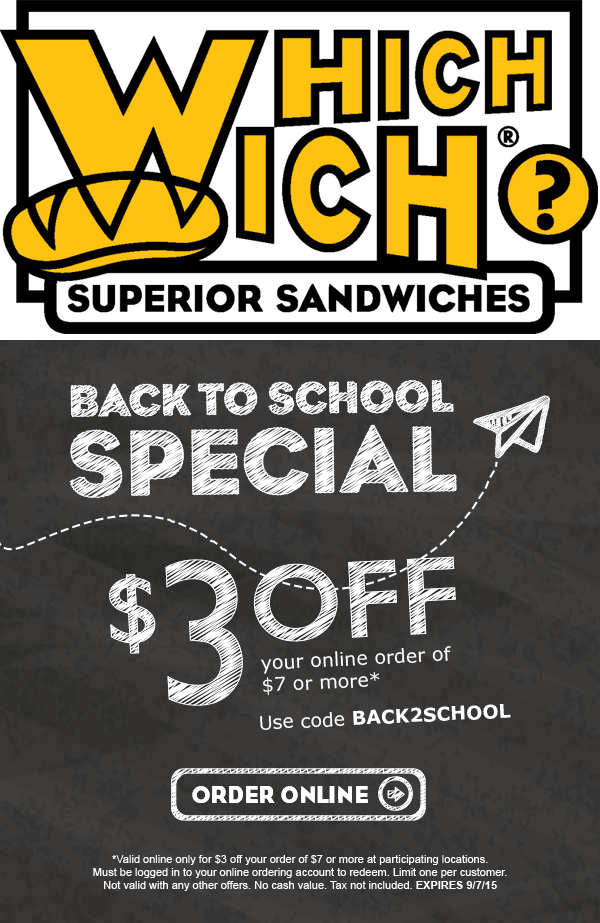 Which Wich Coupon May 2018 $3 off $7 online at Which Wich sandwiches