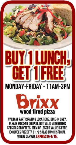 Brixx Coupon August 2017 Second lunch free today at Brixx wood fired pizza