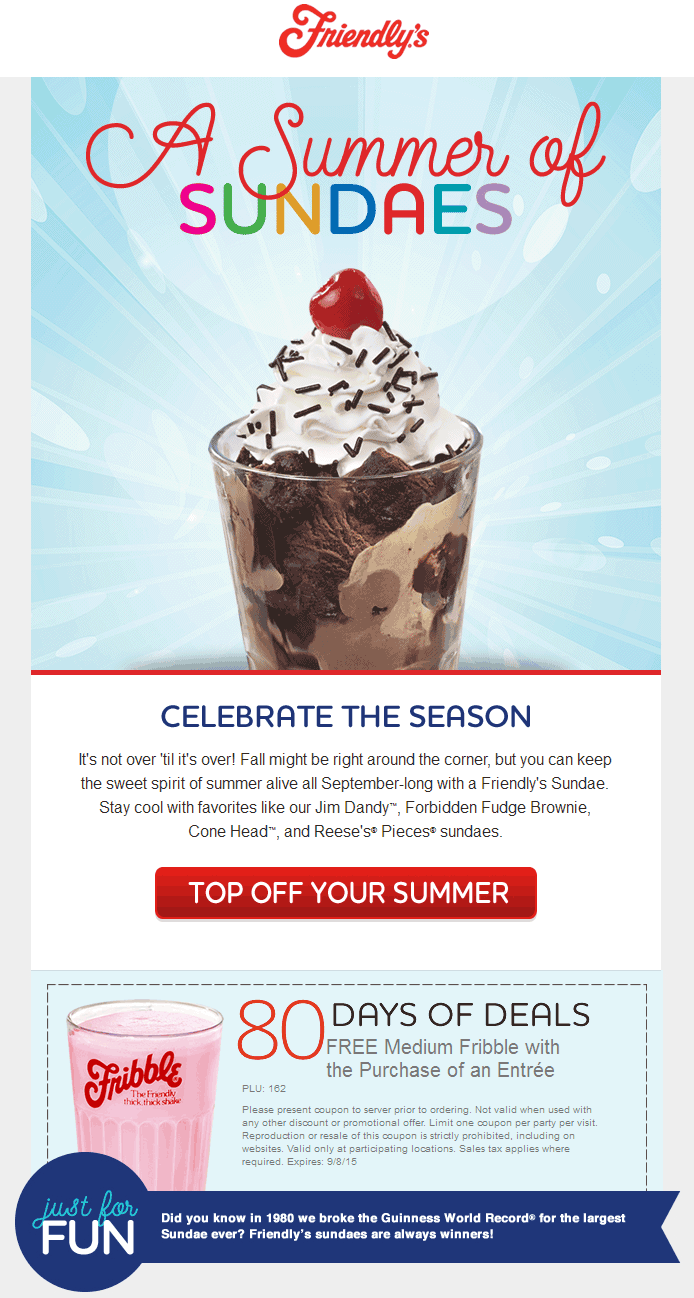 Friendlys Coupon October 2016 Free milkshake with your entree at Friendlys