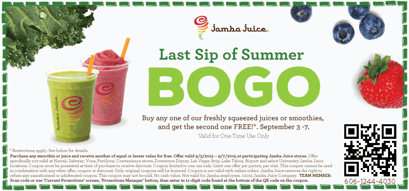 Jamba Juice Coupon February 2017 Second smoothie or juice free at Jamba Juice