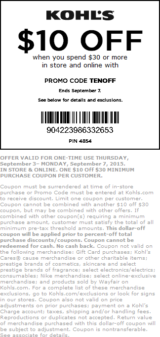 Kohls Coupon August 2017 $10 off $30 at Kohls, or online via promo code TENOFF