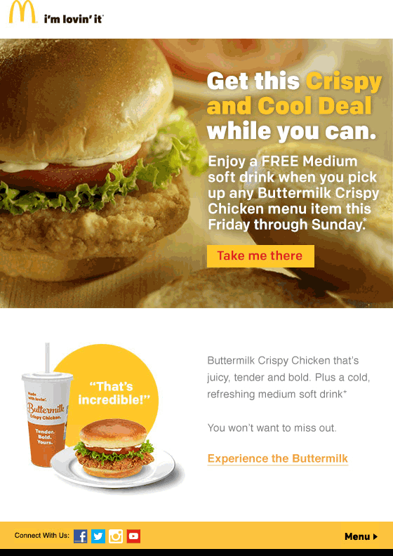 McDonalds Coupon August 2017 Free drink with your chicken at McDonalds