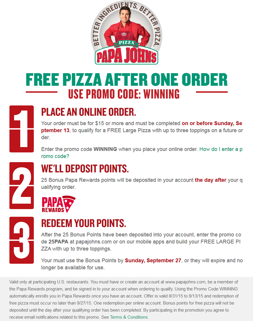 Papa Johns Coupon November 2018 Second pizza free online at Papa Johns via promo code WINNING