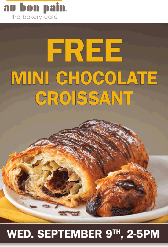Au Bon Pain Coupon January 2018 Chocolate croissant free Wednesday at Au Bon Pain bakery cafes