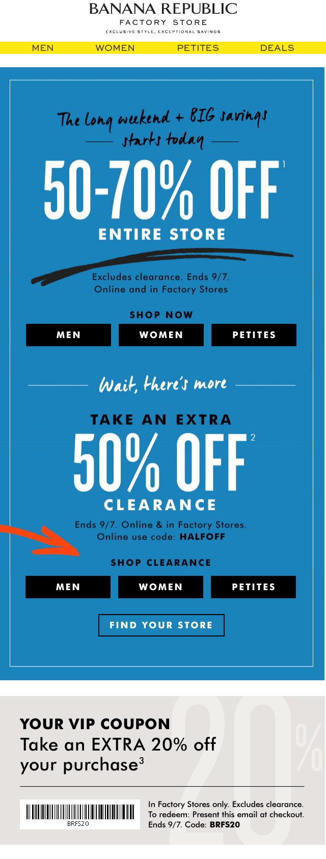 Banana Republic Factory Coupon March 2018 50-70% off everything & more at Banana Republic Factory, or online via promo code BRFS20