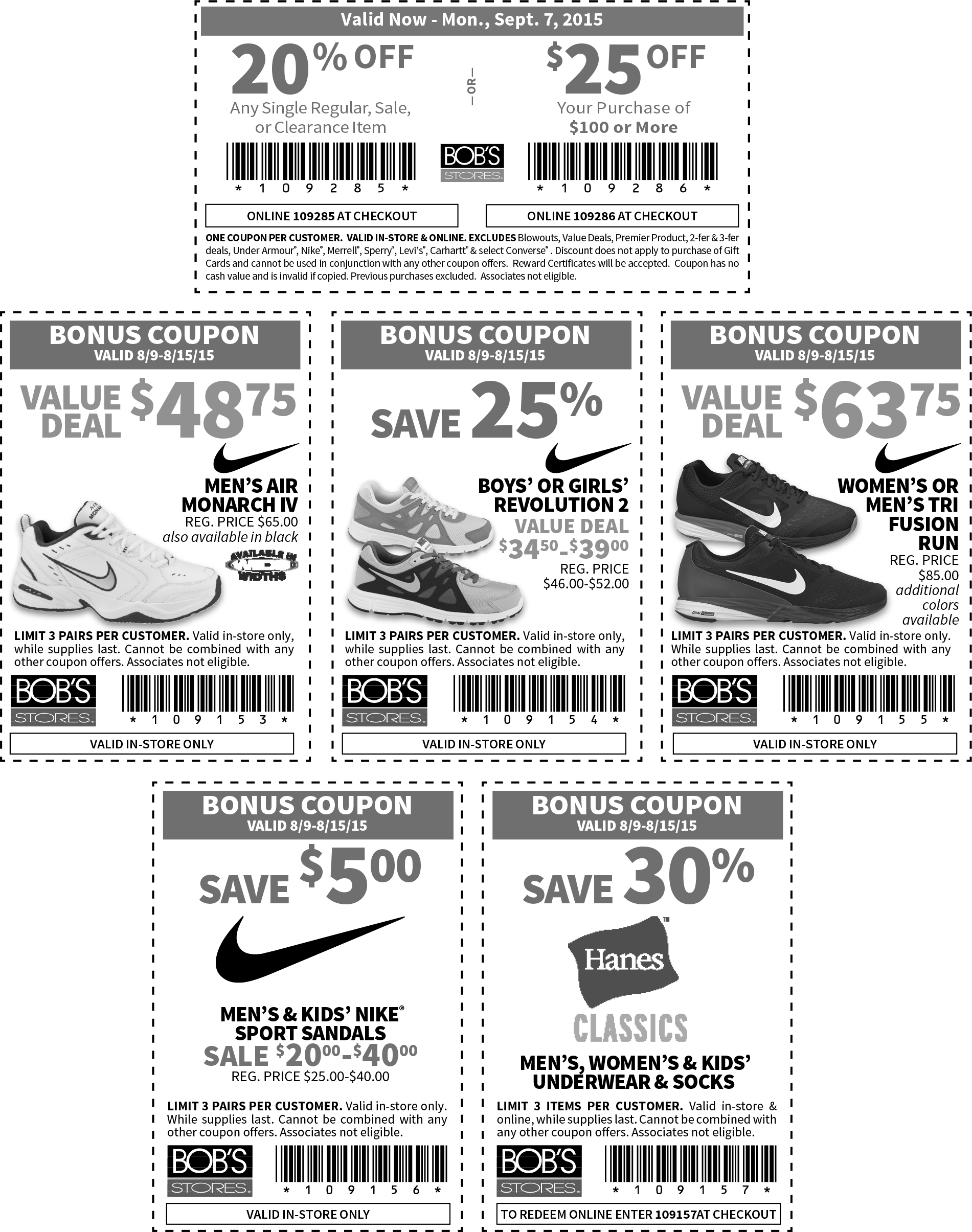 Bobs Stores Coupon September 2018 20% off a single item & more at Bobs Stores, or online via promo code 109285
