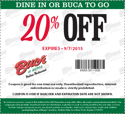 Buca di Beppo Coupon November 2017 20% off at Buca di Beppo Italian restaurants