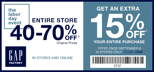 Gap Factory Coupon July 2018 40-70% off everything + another 15% at Gap Factory, ditto online