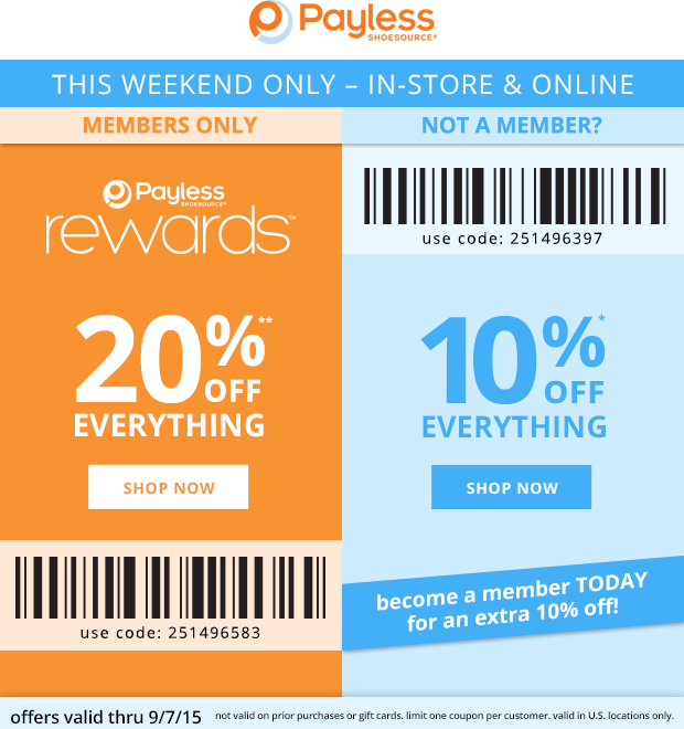 Payless Shoesource Coupon September 2018 20% off everything at Payless Shoesource, or online via promo code 251496583