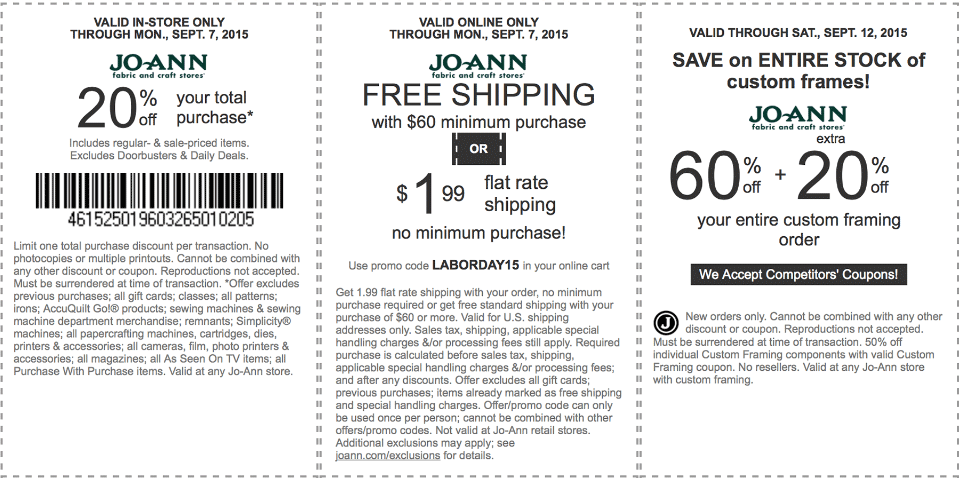 Jo-Ann Fabric Coupon August 2017 20% off & more at Jo-Ann Fabric