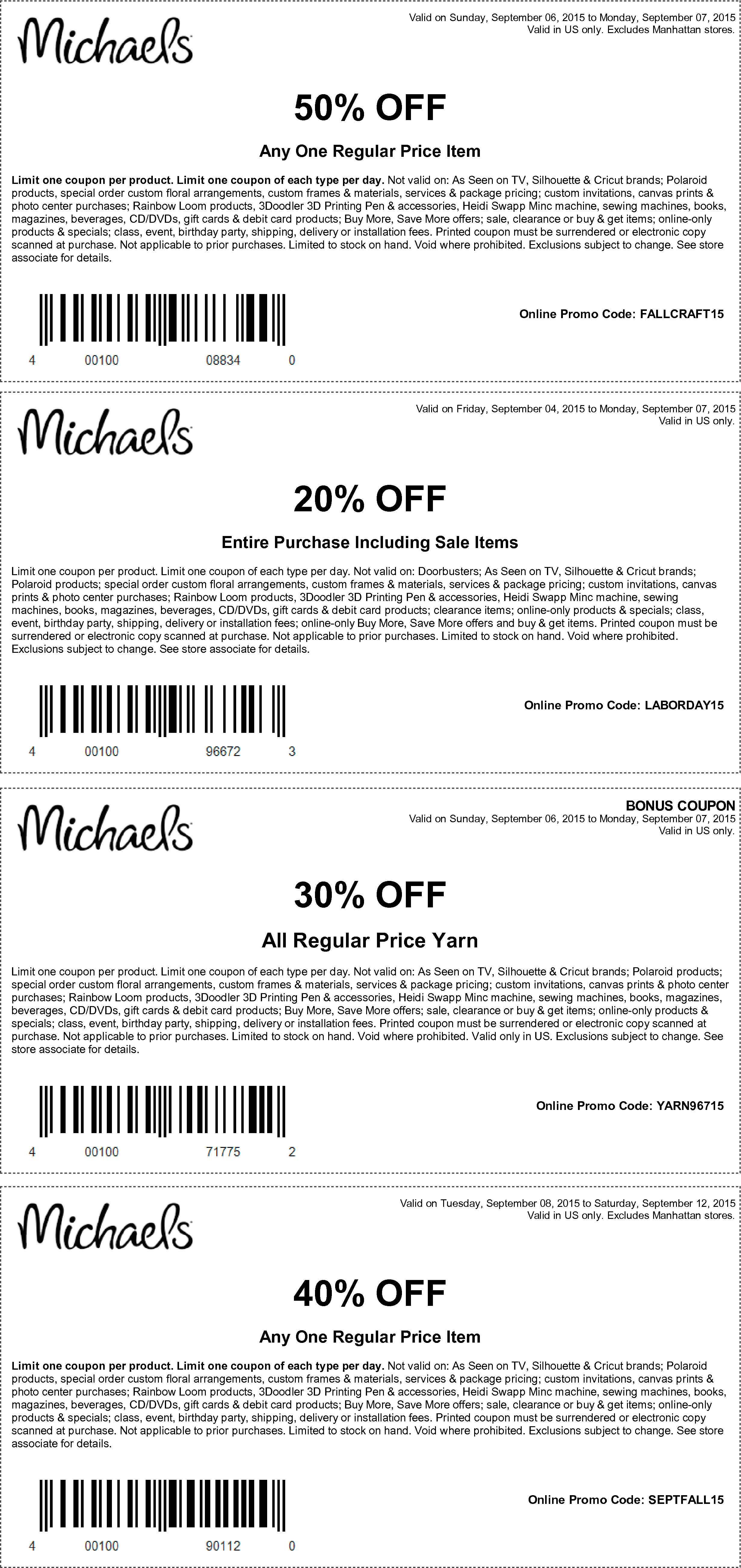Michaels Coupon June 2017 40-50% off a single item & more at Michaels, or online via promo code SEPTFALL15