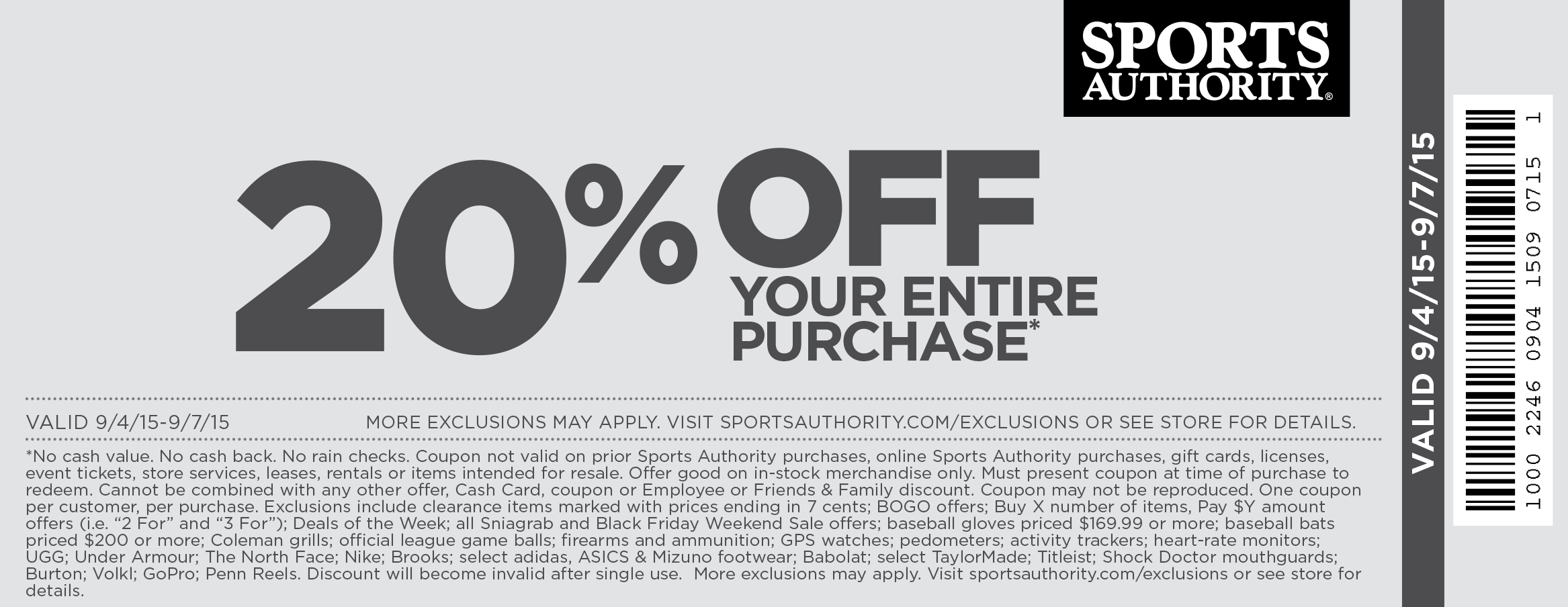 Sports Authority Coupon October 2016 20% off the tab at Sports Authority, ditto online