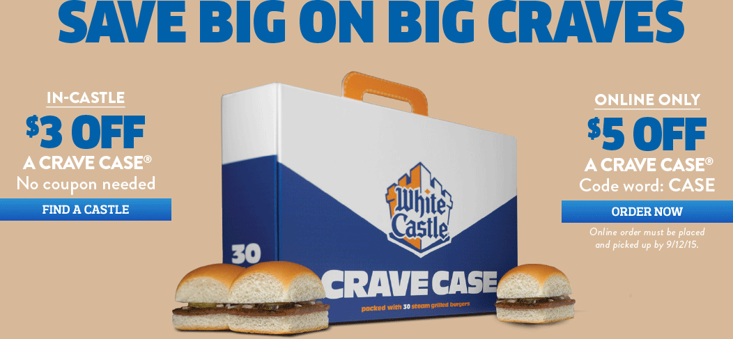 White Castle Coupon April 2017 $3 off a 30pk of sliders at White Castle, or $5 off online via promo code CRAVE