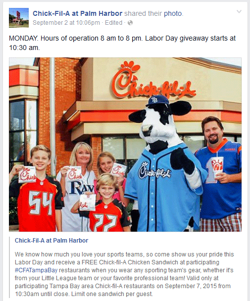 Chick-fil-A Coupon November 2017 Some Chick-fil-A are giving away chicken sandwiches today anyone wearing sports gear (09/07)