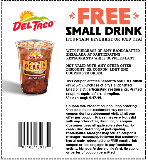Del Taco Coupon June 2017 Free drink with your salad at Del Taco