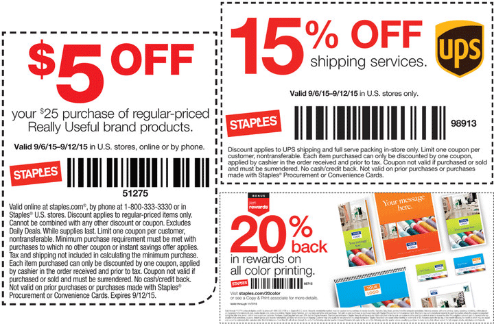 Staples Coupon January 2017 15% off UPS shipping & more at Staples