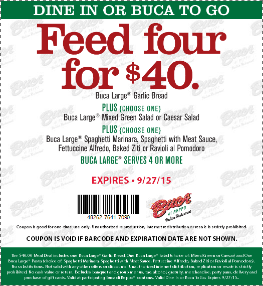 Buca di Beppo Coupon March 2017 $40 feeds a party of 4 at Buca di Beppo