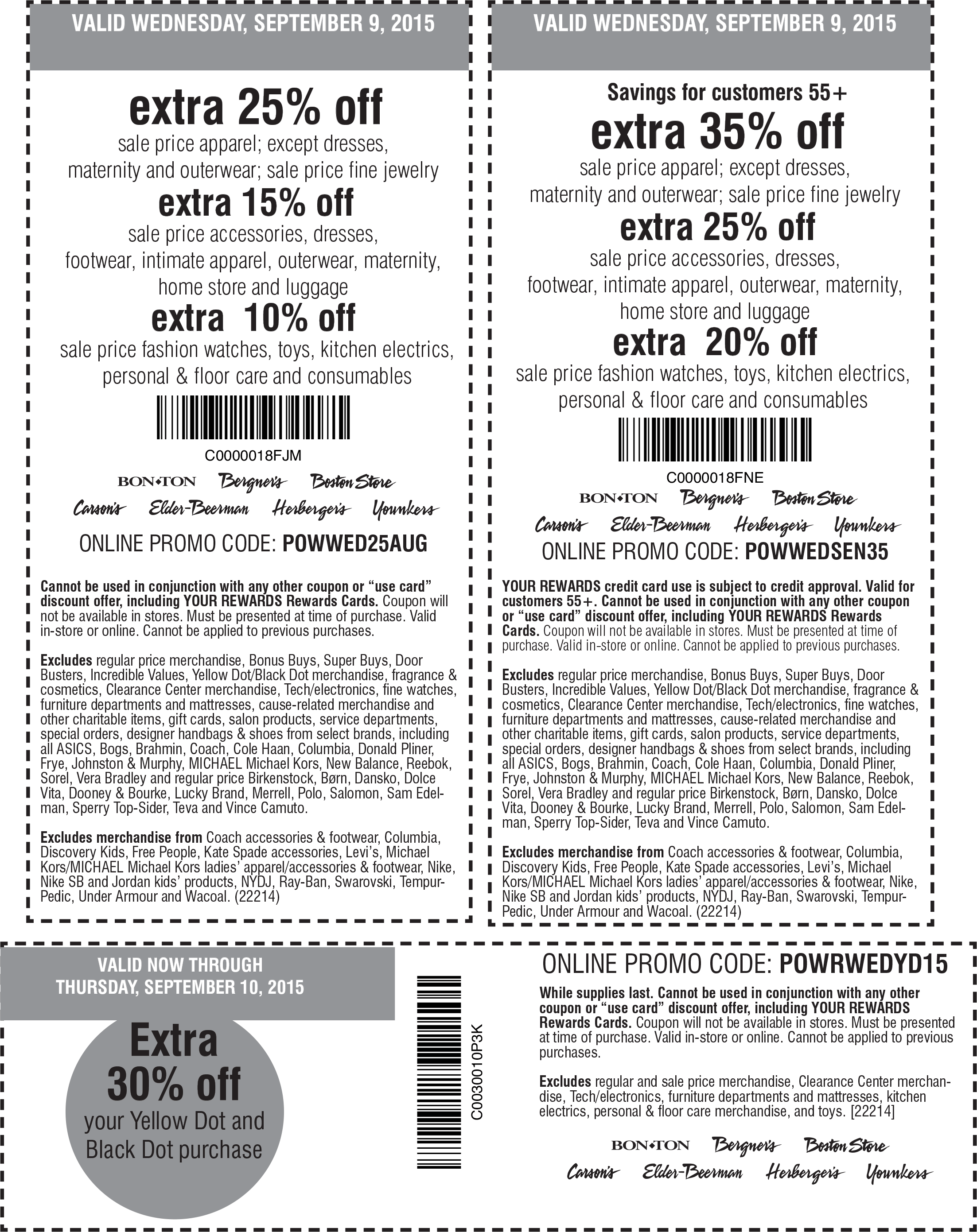 Carsons Coupon April 2017 Extra 25-35% off sale apparel & more at Carsons, Bon Ton & sister stores, or online via promo code POWWED25AUG